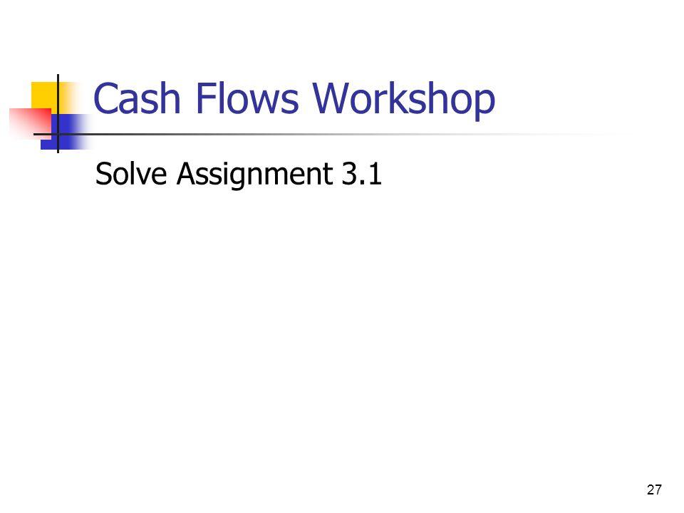 27 Cash Flows Workshop Solve Assignment 3.1