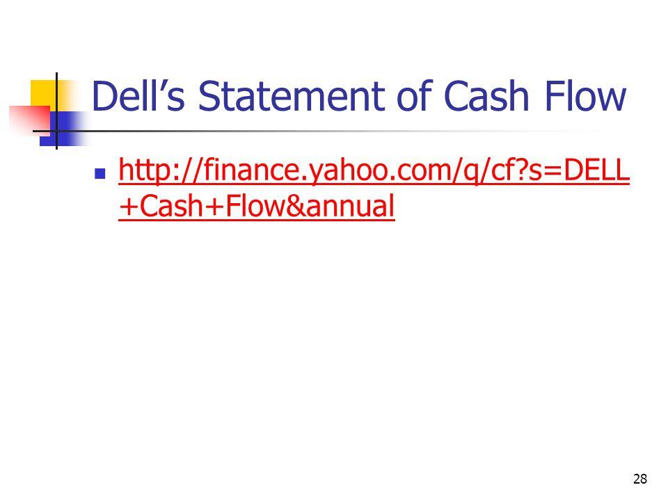 Dell's Statement of Cash Flow http://finance.yahoo.com/q/cf?s=DELL +Cash+Flow&annual http://finance.yahoo.com/q/cf?s=DELL +Cash+Flow&annual 28