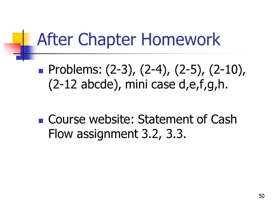After Chapter Homework Problems: (2-3), (2-4), (2-5), (2-10), (2-12 abcde), mini case d,e,f,g,h. Course website: Statement of Cash Flow assignment 3.2