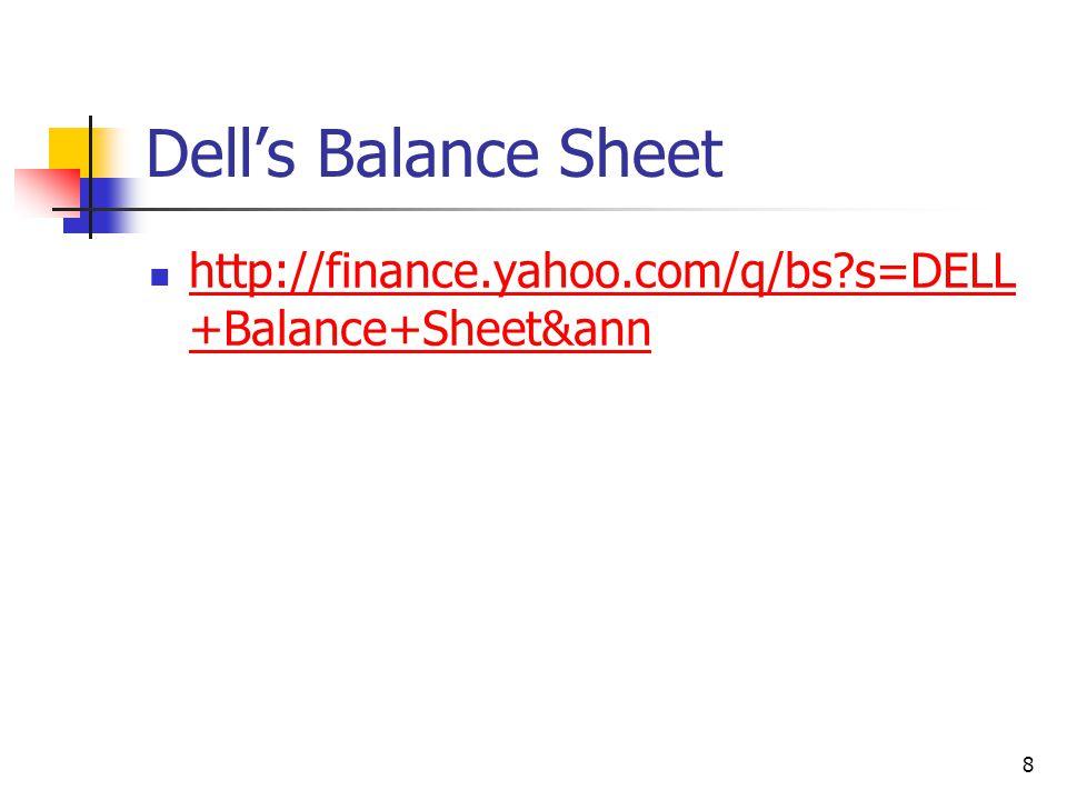 Dell's Balance Sheet http://finance.yahoo.com/q/bs?s=DELL +Balance+Sheet&ann http://finance.yahoo.com/q/bs?s=DELL +Balance+Sheet&ann 8