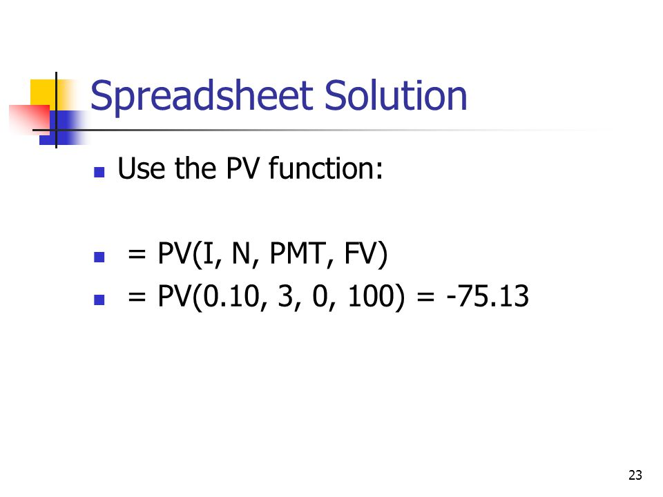 23 Spreadsheet Solution Use the PV function: = PV(I, N, PMT, FV) = PV(0.10, 3, 0, 100) = -75.13