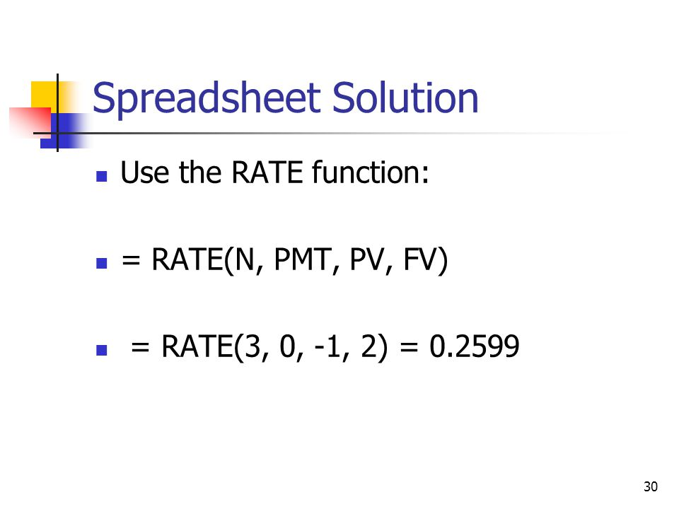 30 Spreadsheet Solution Use the RATE function: = RATE(N, PMT, PV, FV) = RATE(3, 0, -1, 2) = 0.2599