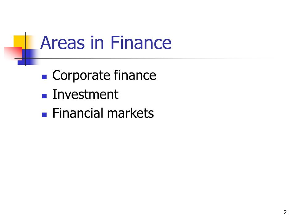 Areas in Finance Corporate finance Investment Financial markets 2