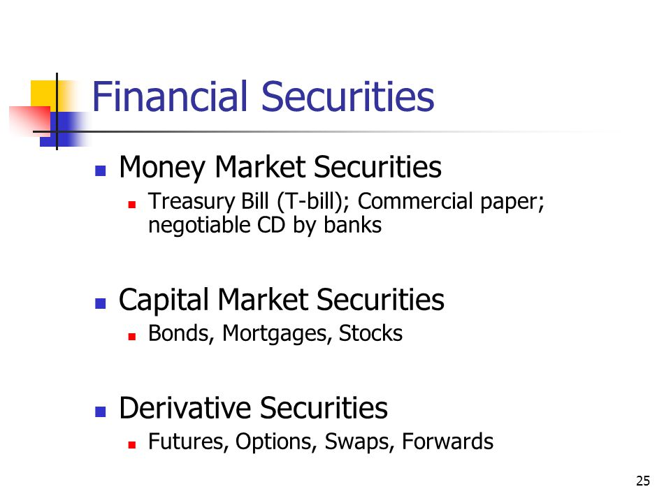Financial Securities Money Market Securities Treasury Bill (T-bill); Commercial paper; negotiable CD by banks Capital Market Securities Bonds, Mortgages, Stocks Derivative Securities Futures, Options, Swaps, Forwards 25