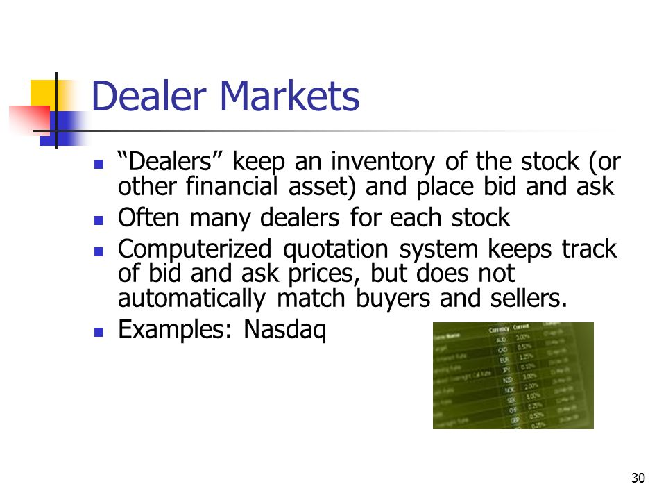 30 Dealer Markets Dealers keep an inventory of the stock (or other financial asset) and place bid and ask Often many dealers for each stock Computerized quotation system keeps track of bid and ask prices, but does not automatically match buyers and sellers.
