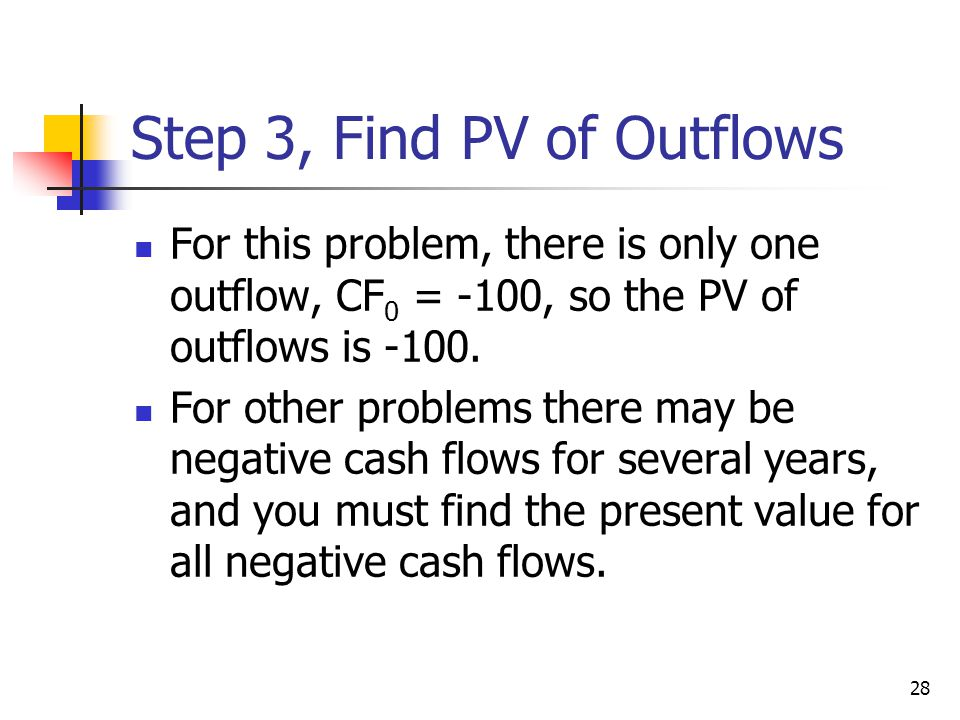 28 Step 3, Find PV of Outflows For this problem, there is only one outflow, CF 0 = -100, so the PV of outflows is -100. For other problems there may b