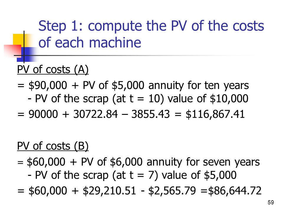 59 Step 1: compute the PV of the costs of each machine PV of costs (A) = $90,000 + PV of $5,000 annuity for ten years - PV of the scrap (at t = 10) va