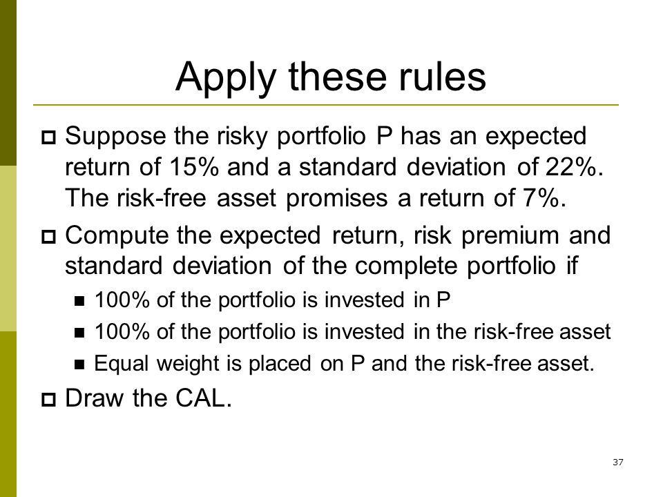 37 Apply these rules  Suppose the risky portfolio P has an expected return of 15% and a standard deviation of 22%. The risk-free asset promises a ret