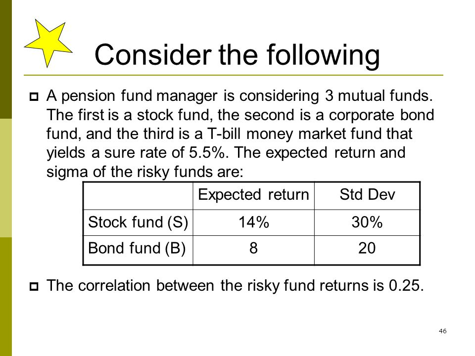 46 Consider the following  A pension fund manager is considering 3 mutual funds. The first is a stock fund, the second is a corporate bond fund, and