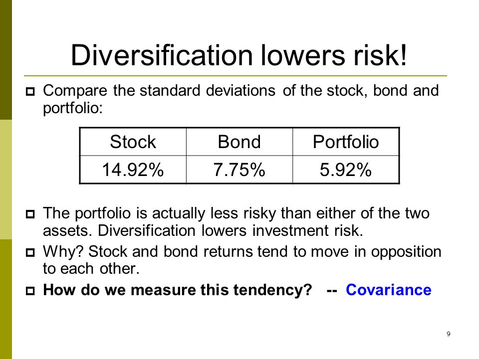 9 Diversification lowers risk!  Compare the standard deviations of the stock, bond and portfolio:  The portfolio is actually less risky than either