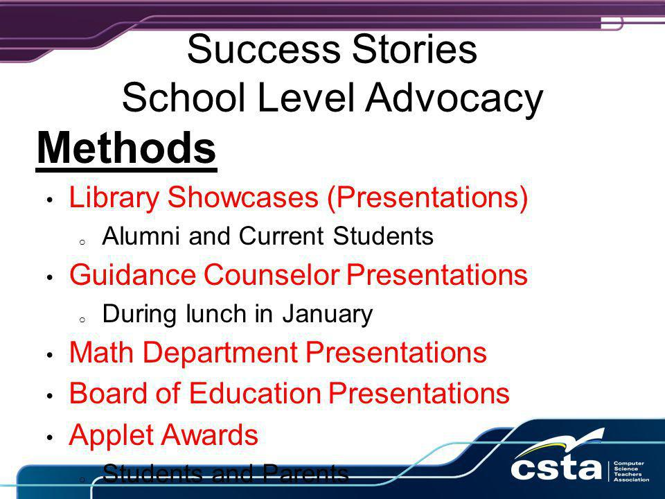 Success Stories School Level Advocacy Methods Library Showcases (Presentations) o Alumni and Current Students Guidance Counselor Presentations o During lunch in January Math Department Presentations Board of Education Presentations Applet Awards o Students and Parents