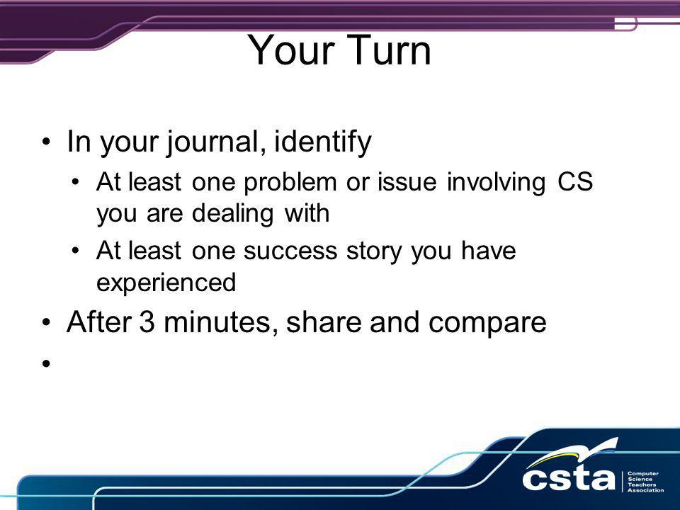 Your Turn In your journal, identify At least one problem or issue involving CS you are dealing with At least one success story you have experienced After 3 minutes, share and compare