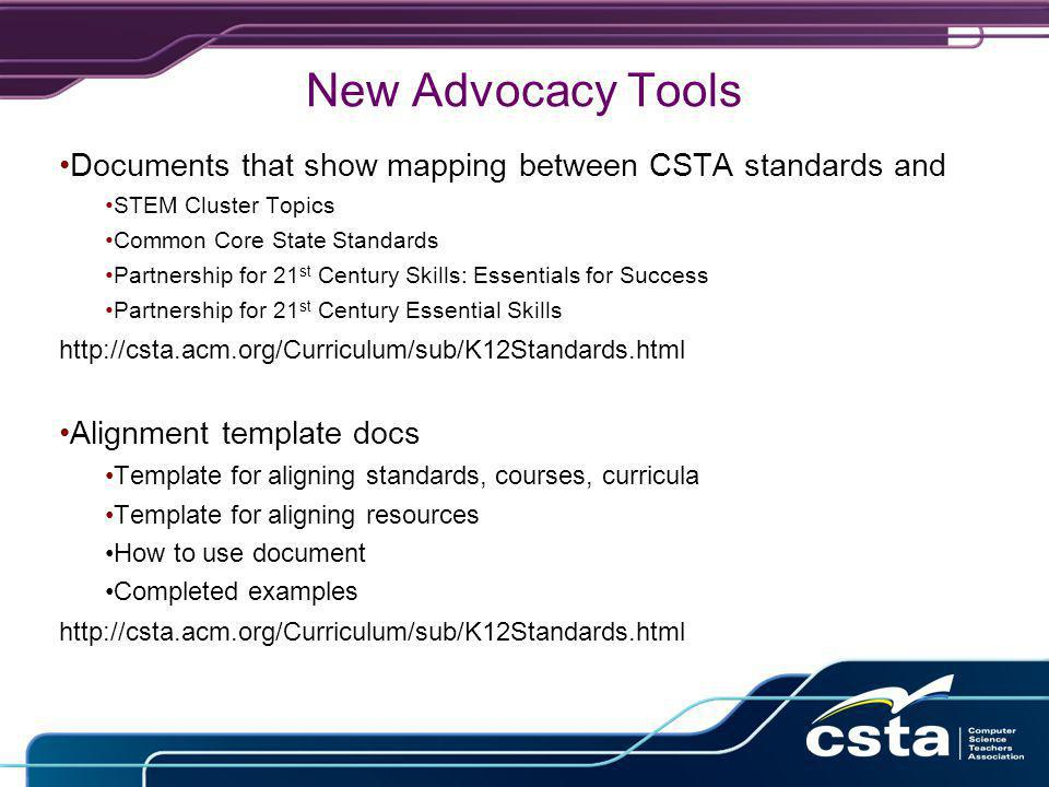 New Advocacy Tools Documents that show mapping between CSTA standards and STEM Cluster Topics Common Core State Standards Partnership for 21 st Century Skills: Essentials for Success Partnership for 21 st Century Essential Skills http://csta.acm.org/Curriculum/sub/K12Standards.html Alignment template docs Template for aligning standards, courses, curricula Template for aligning resources How to use document Completed examples http://csta.acm.org/Curriculum/sub/K12Standards.html