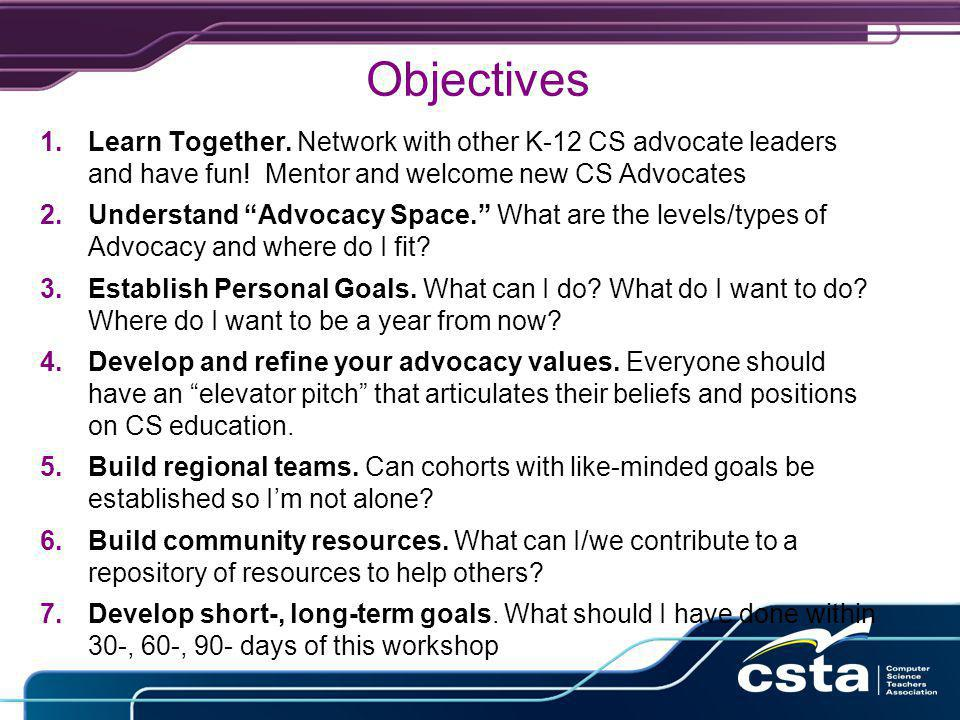 Objectives 1.Learn Together. Network with other K-12 CS advocate leaders and have fun.