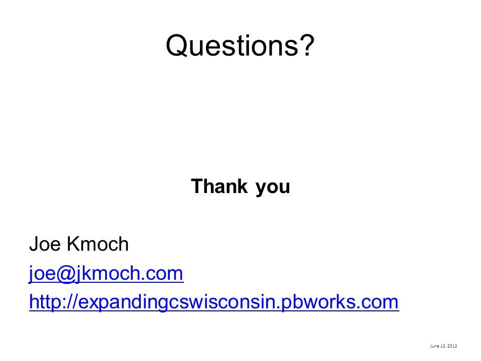 Questions? Thank you Joe Kmoch joe@jkmoch.com http://expandingcswisconsin.pbworks.com