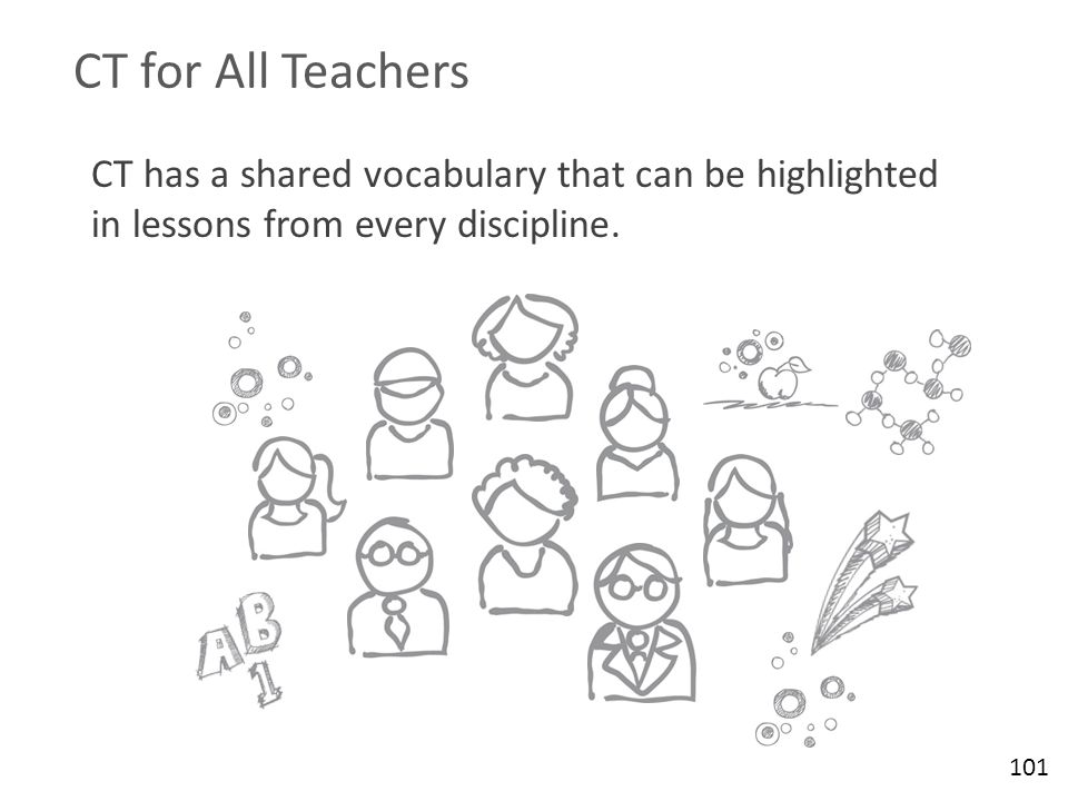 CT for All Teachers CT has a shared vocabulary that can be highlighted in lessons from every discipline. 101