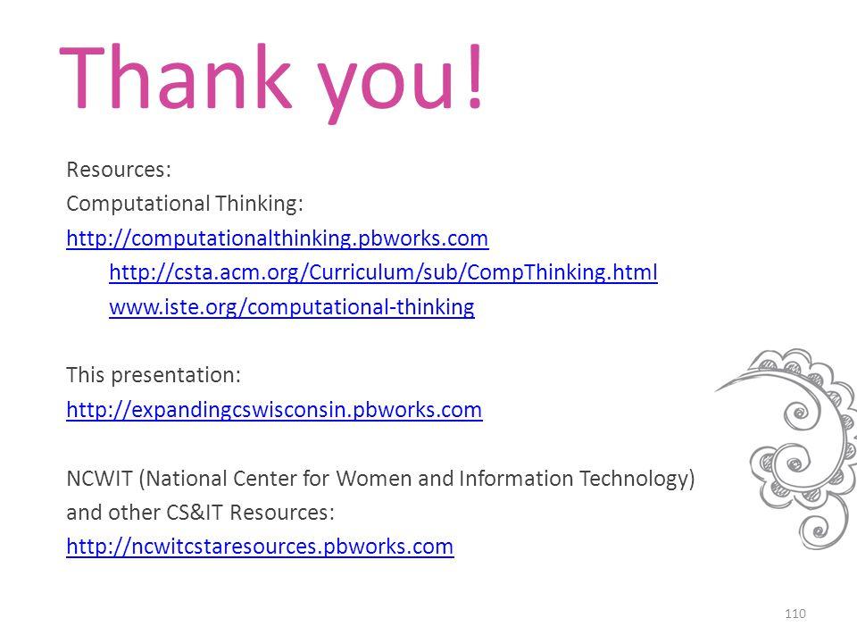 Resources: Computational Thinking: http://computationalthinking.pbworks.com http://csta.acm.org/Curriculum/sub/CompThinking.html www.iste.org/computat
