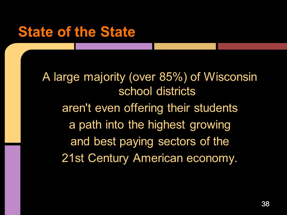 A large majority (over 85%) of Wisconsin school districts aren't even offering their students a path into the highest growing and best paying sectors