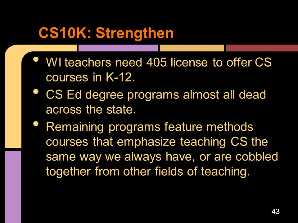 WI teachers need 405 license to offer CS courses in K-12. CS Ed degree programs almost all dead across the state. Remaining programs feature methods c