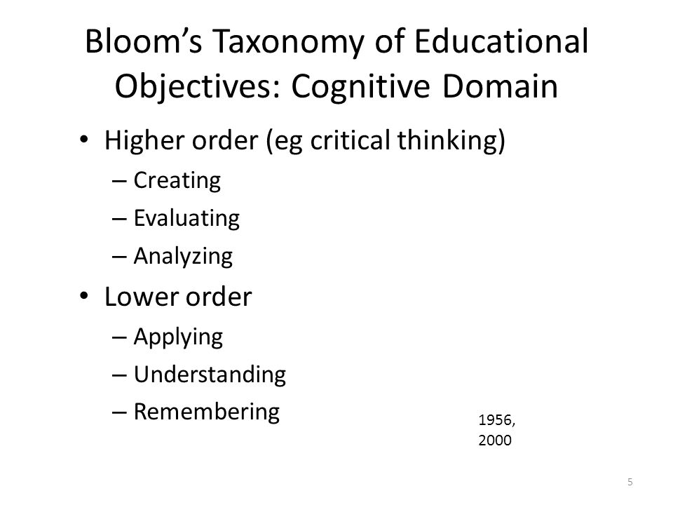 Bloom's Taxonomy of Educational Objectives: Cognitive Domain Higher order (eg critical thinking) – Creating – Evaluating – Analyzing Lower order – App