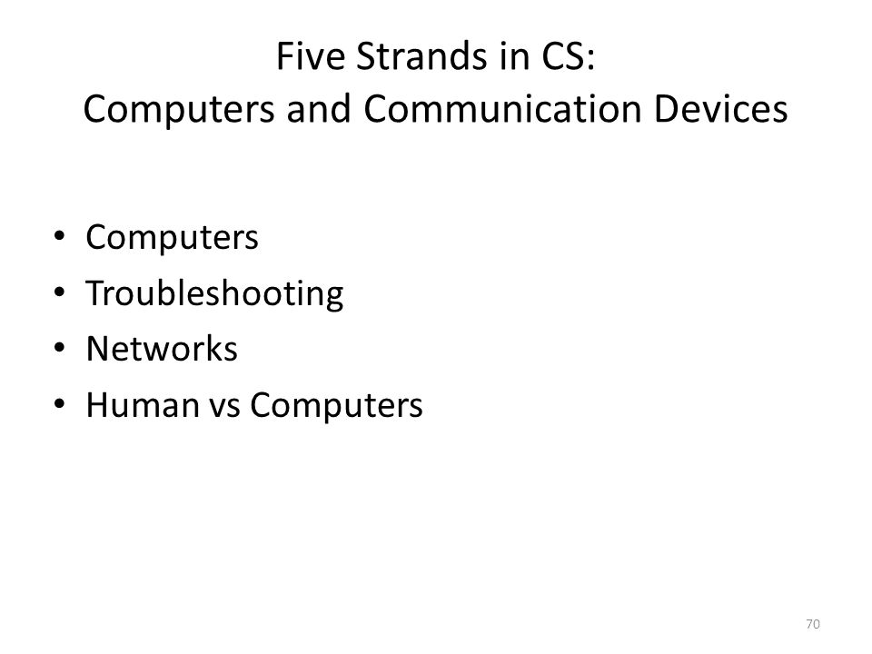 Five Strands in CS: Computers and Communication Devices Computers Troubleshooting Networks Human vs Computers 70
