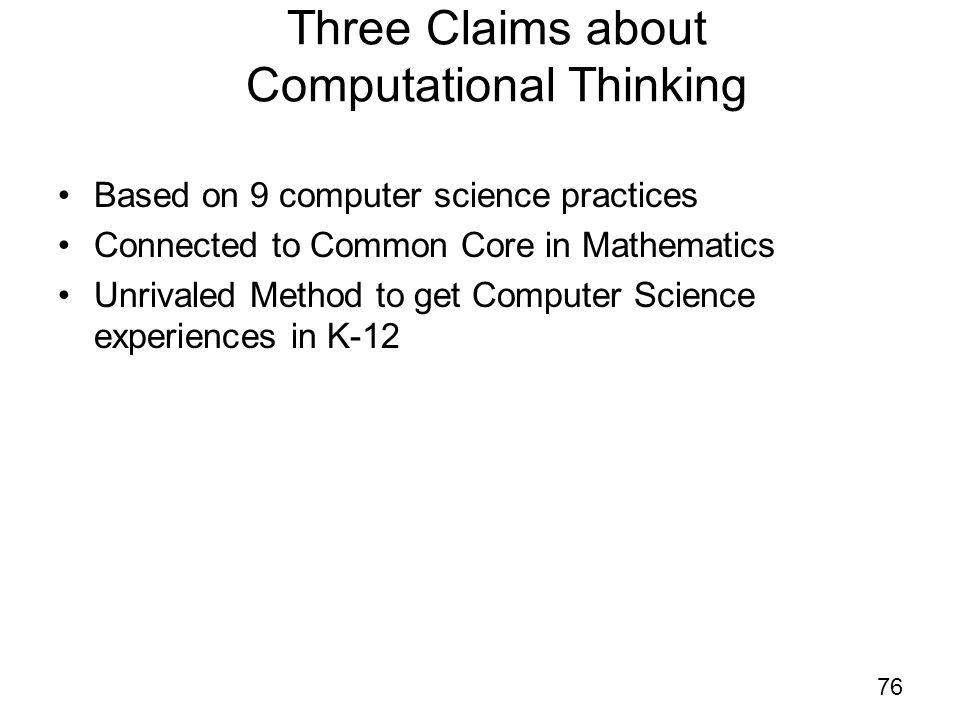 Three Claims about Computational Thinking Based on 9 computer science practices Connected to Common Core in Mathematics Unrivaled Method to get Comput
