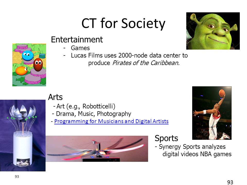 93 CT for Society Arts - Art (e.g., Robotticelli) - Drama, Music, Photography - Programming for Musicians and Digital ArtistsProgramming for Musicians