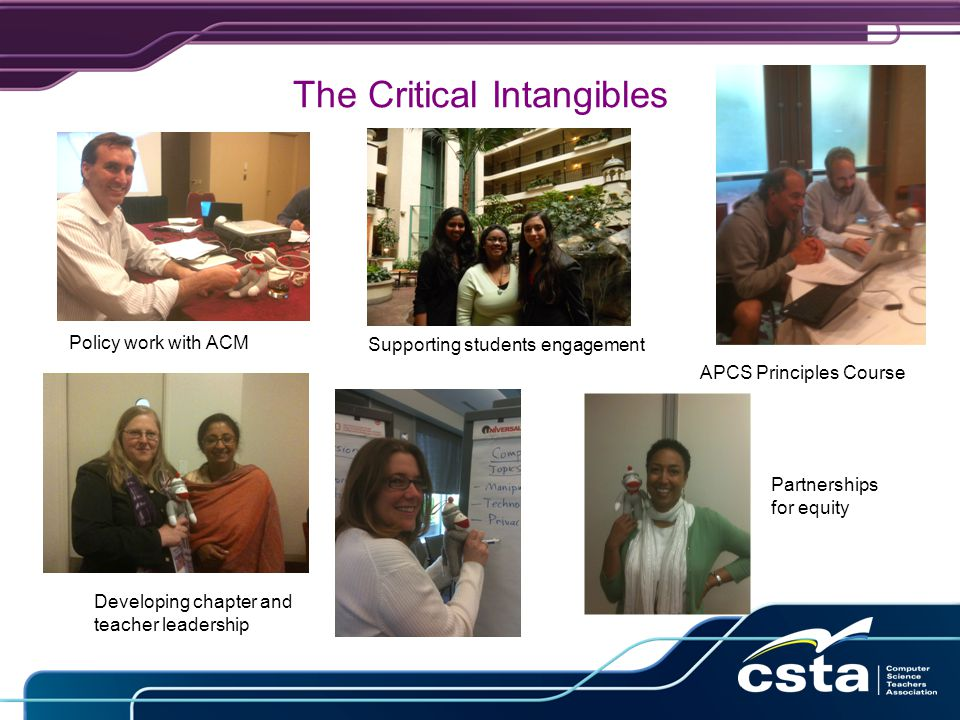The Critical Intangibles APCS Principles Course Policy work with ACM Developing chapter and teacher leadership Partnerships for equity Supporting students engagement
