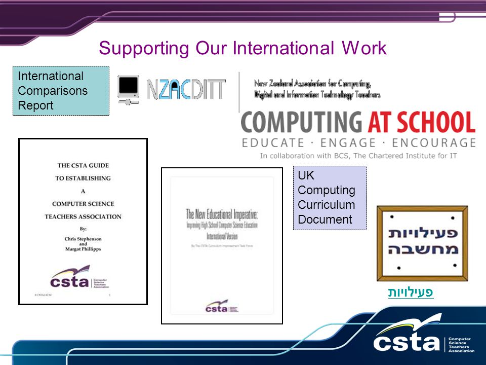 Supporting Our International Work פעילויות UK Computing Curriculum Document International Comparisons Report