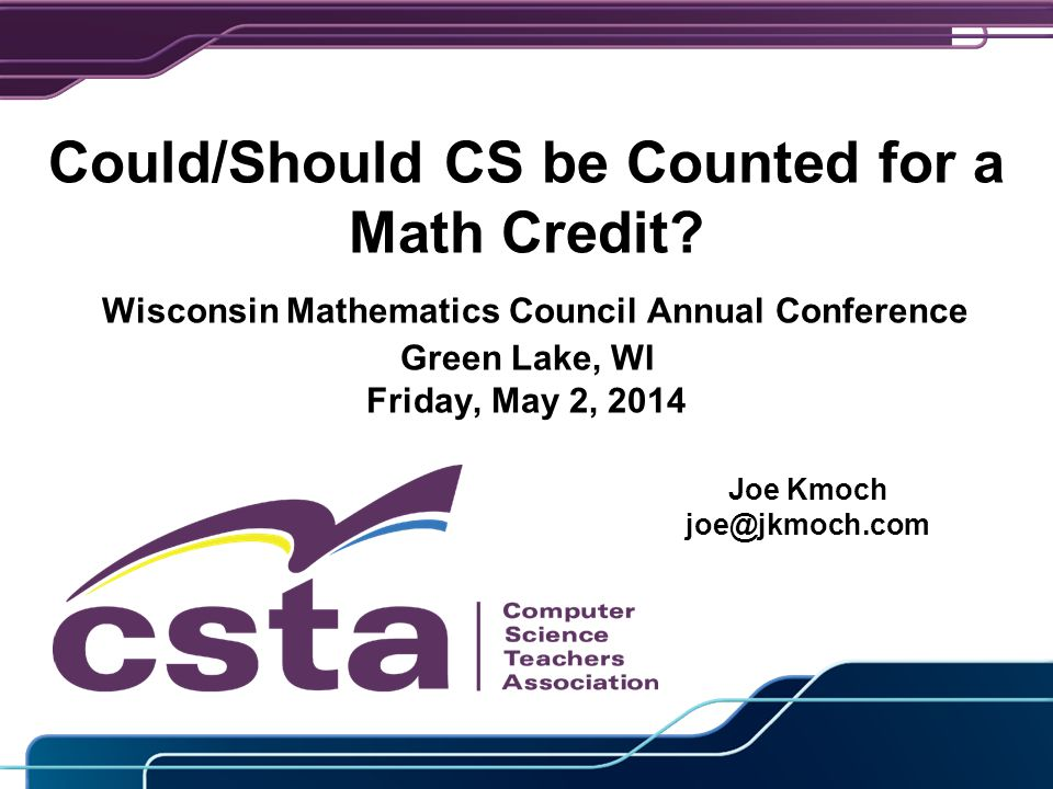 Could/Should CS be Counted for a Math Credit.