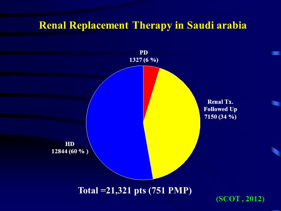 Renal Replacement Therapy in Saudi arabia PD 1327 (6 %) HD 12844 (60 % ) Total =21,321 pts (751 PMP) Renal Tx.