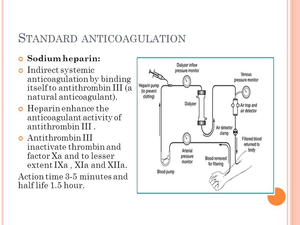 S TANDARD ANTICOAGULATION Sodium heparin: Indirect systemic anticoagulation by binding itself to antithrombin III (a natural anticoagulant). Heparin e