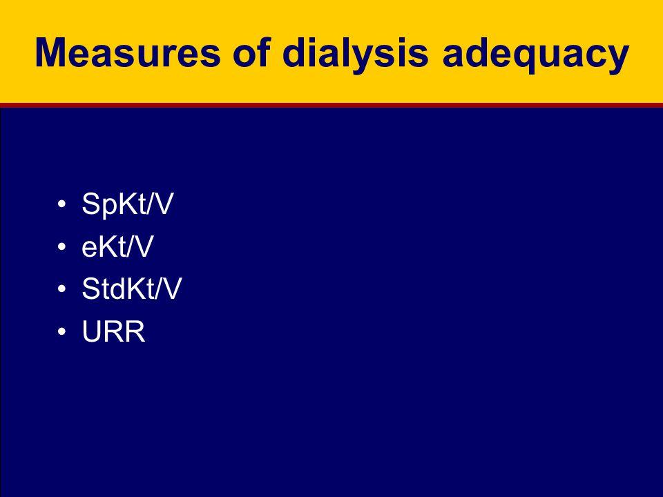 Measures of dialysis adequacy SpKt/V eKt/V StdKt/V URR
