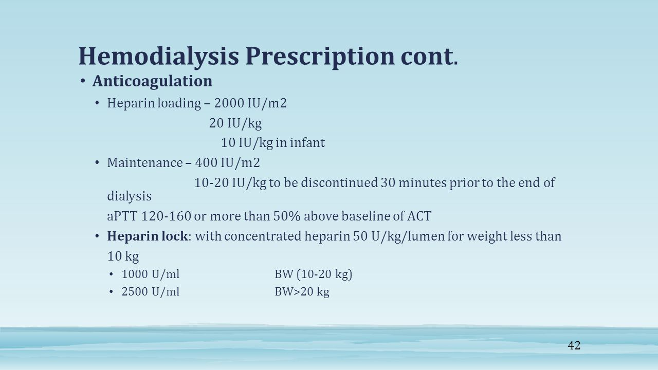 Hemodialysis Prescription cont.
