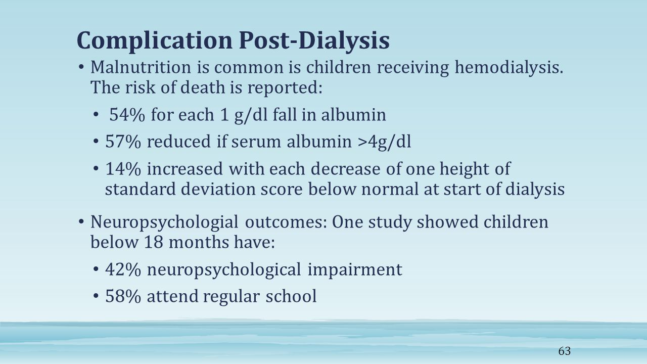 Complication Post-Dialysis Malnutrition is common is children receiving hemodialysis.