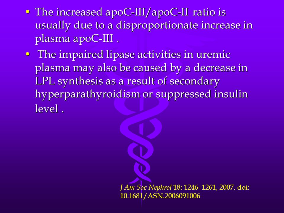 The increased apoC-III/apoC-II ratio is usually due to a disproportionate increase in plasma apoC-III.The increased apoC-III/apoC-II ratio is usually