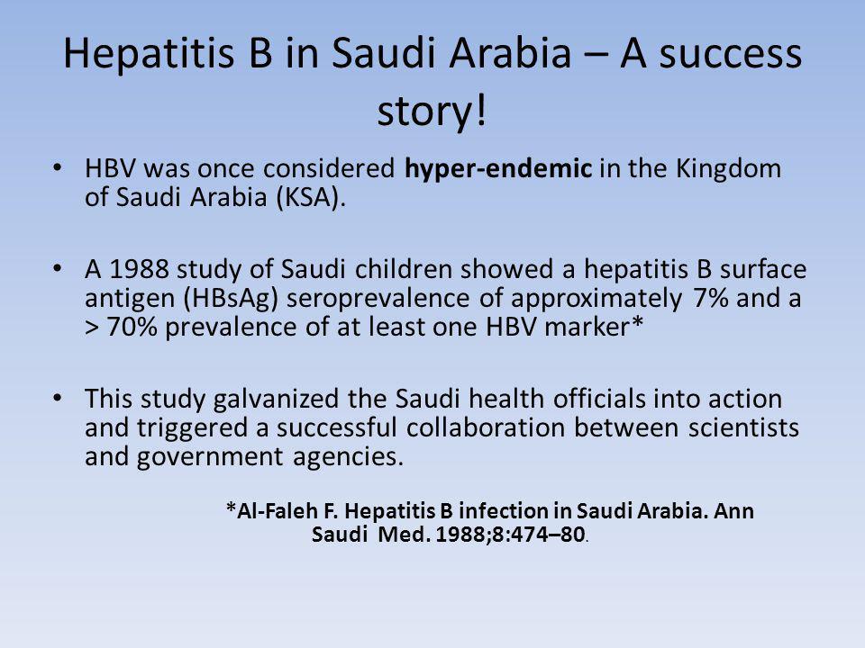 Hepatitis B in Saudi Arabia – A success story.