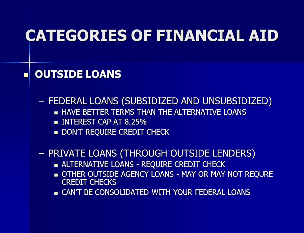 CATEGORIES OF FINANCIAL AID OUTSIDE LOANS OUTSIDE LOANS –FEDERAL LOANS (SUBSIDIZED AND UNSUBSIDIZED) HAVE BETTER TERMS THAN THE ALTERNATIVE LOANS HAVE BETTER TERMS THAN THE ALTERNATIVE LOANS INTEREST CAP AT 8.25% INTEREST CAP AT 8.25% DON'T REQUIRE CREDIT CHECK DON'T REQUIRE CREDIT CHECK –PRIVATE LOANS (THROUGH OUTSIDE LENDERS) ALTERNATIVE LOANS - REQUIRE CREDIT CHECK ALTERNATIVE LOANS - REQUIRE CREDIT CHECK OTHER OUTSIDE AGENCY LOANS - MAY OR MAY NOT REQURE CREDIT CHECKS OTHER OUTSIDE AGENCY LOANS - MAY OR MAY NOT REQURE CREDIT CHECKS CAN'T BE CONSOLIDATED WITH YOUR FEDERAL LOANS CAN'T BE CONSOLIDATED WITH YOUR FEDERAL LOANS