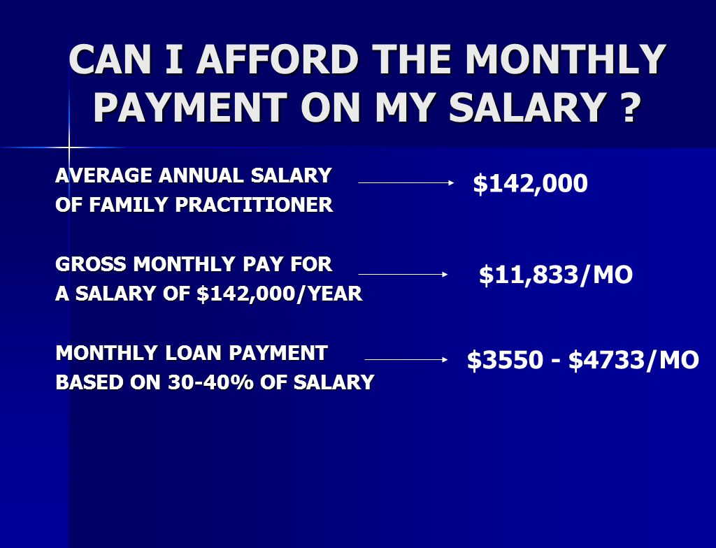 CAN I AFFORD THE MONTHLY PAYMENT ON MY SALARY .