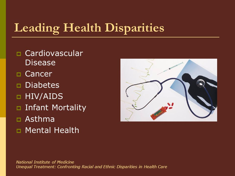 Leading Health Disparities  Cardiovascular Disease  Cancer  Diabetes  HIV/AIDS  Infant Mortality  Asthma  Mental Health National Institute of Medicine Unequal Treatment: Confronting Racial and Ethnic Disparities in Health Care