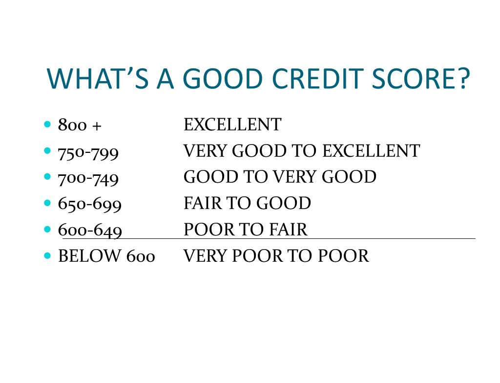 WHAT'S A GOOD CREDIT SCORE.