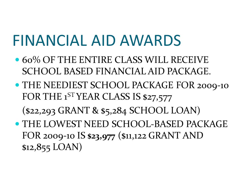 FINANCIAL AID AWARDS 60% OF THE ENTIRE CLASS WILL RECEIVE SCHOOL BASED FINANCIAL AID PACKAGE.