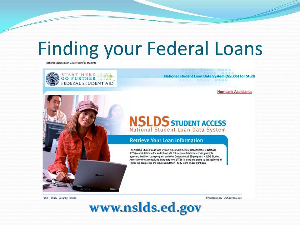 Finding your Federal Loans www.nslds.ed.gov