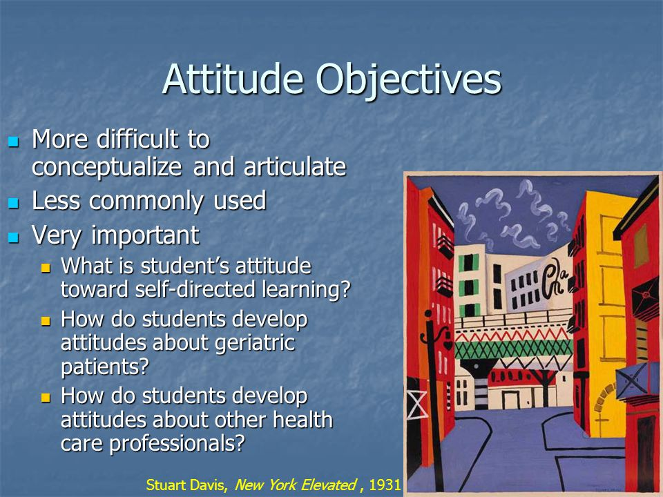 Attitude Objectives More difficult to conceptualize and articulate More difficult to conceptualize and articulate Less commonly used Less commonly used Very important Very important What is student's attitude toward self-directed learning.