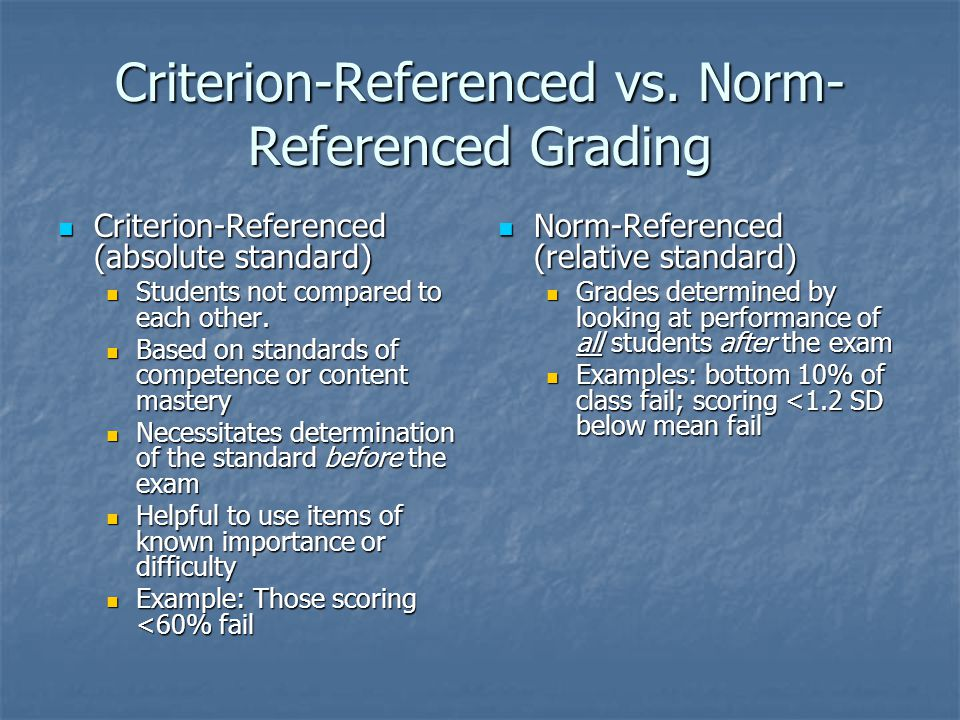 Criterion-Referenced (absolute standard) Criterion-Referenced (absolute standard) Students not compared to each other.