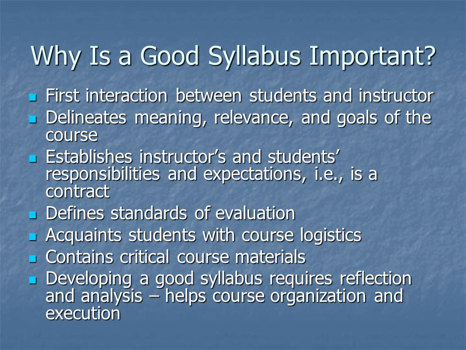 Why Is a Good Syllabus Important.