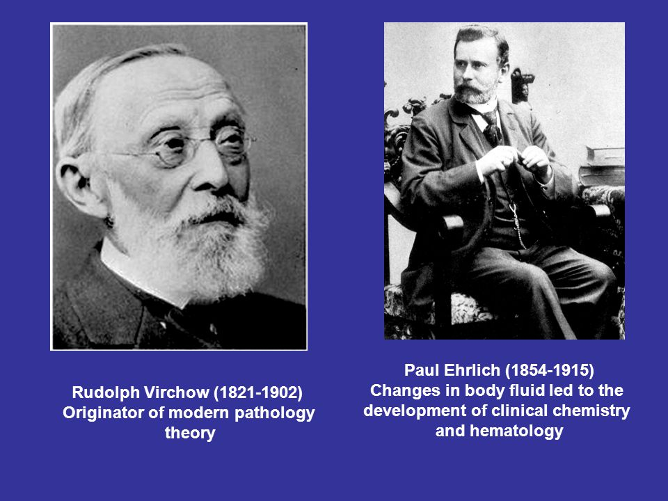 Paul Ehrlich (1854-1915) Changes in body fluid led to the development of clinical chemistry and hematology Rudolph Virchow (1821-1902) Originator of modern pathology theory