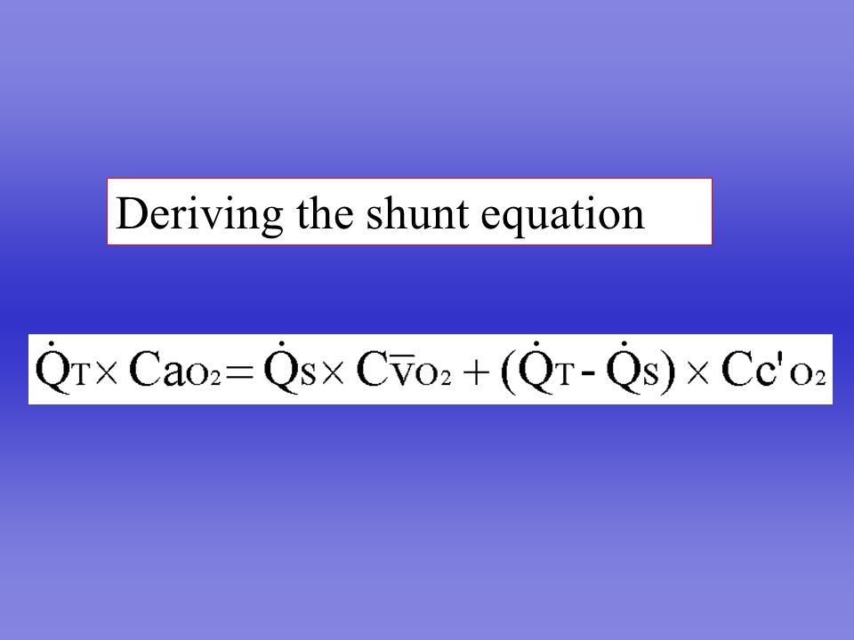 Deriving the shunt equation