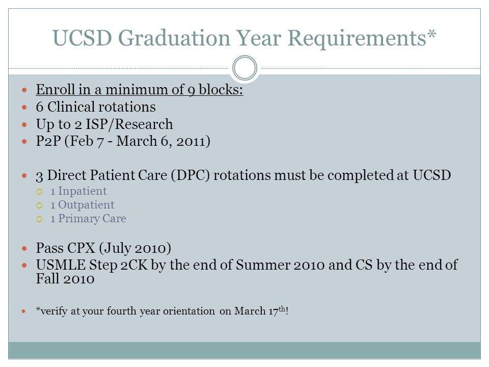 UCSD Graduation Year Requirements* Enroll in a minimum of 9 blocks: 6 Clinical rotations Up to 2 ISP/Research P2P (Feb 7 - March 6, 2011) 3 Direct Patient Care (DPC) rotations must be completed at UCSD  1 Inpatient  1 Outpatient  1 Primary Care Pass CPX (July 2010) USMLE Step 2CK by the end of Summer 2010 and CS by the end of Fall 2010 *verify at your fourth year orientation on March 17 th !