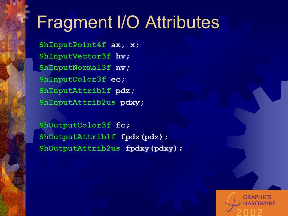 Fragment I/O Attributes ShInputPoint4f ax, x; ShInputVector3f hv; ShInputNormal3f nv; ShInputColor3f ec; ShInputAttrib1f pdz; ShInputAttrib2us pdxy; ShOutputColor3f fc; ShOutputAttrib1f fpdz(pdz); ShOutputAttrib2us fpdxy(pdxy);